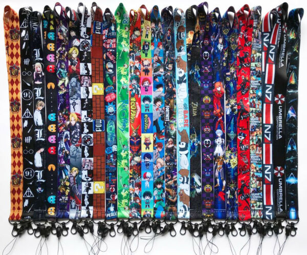 A Lot Cartoon Anime Cosplay Cell Phone Rope Keychain Lanyard Neck Strap  Holder