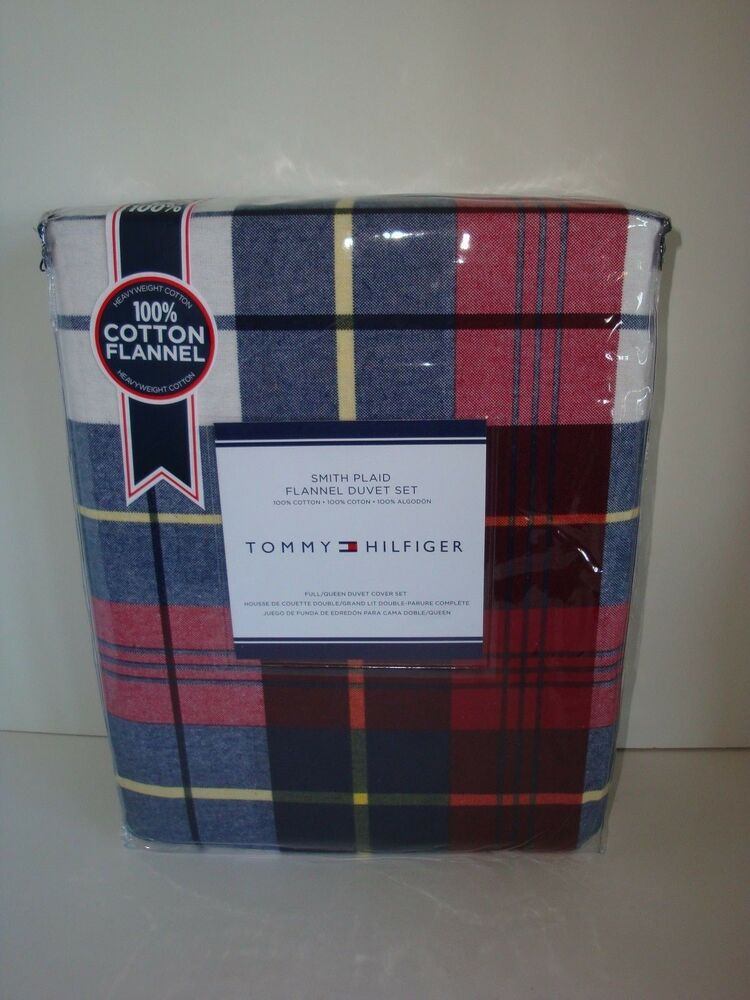 Tommy Hilfiger Smith Plaid Flannel Full Queen Duvet Cover Shams Blue