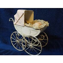 """Vintage White Victorian 8"""" doll buggy & sleeping ceramic baby doll CUTE!!!"""
