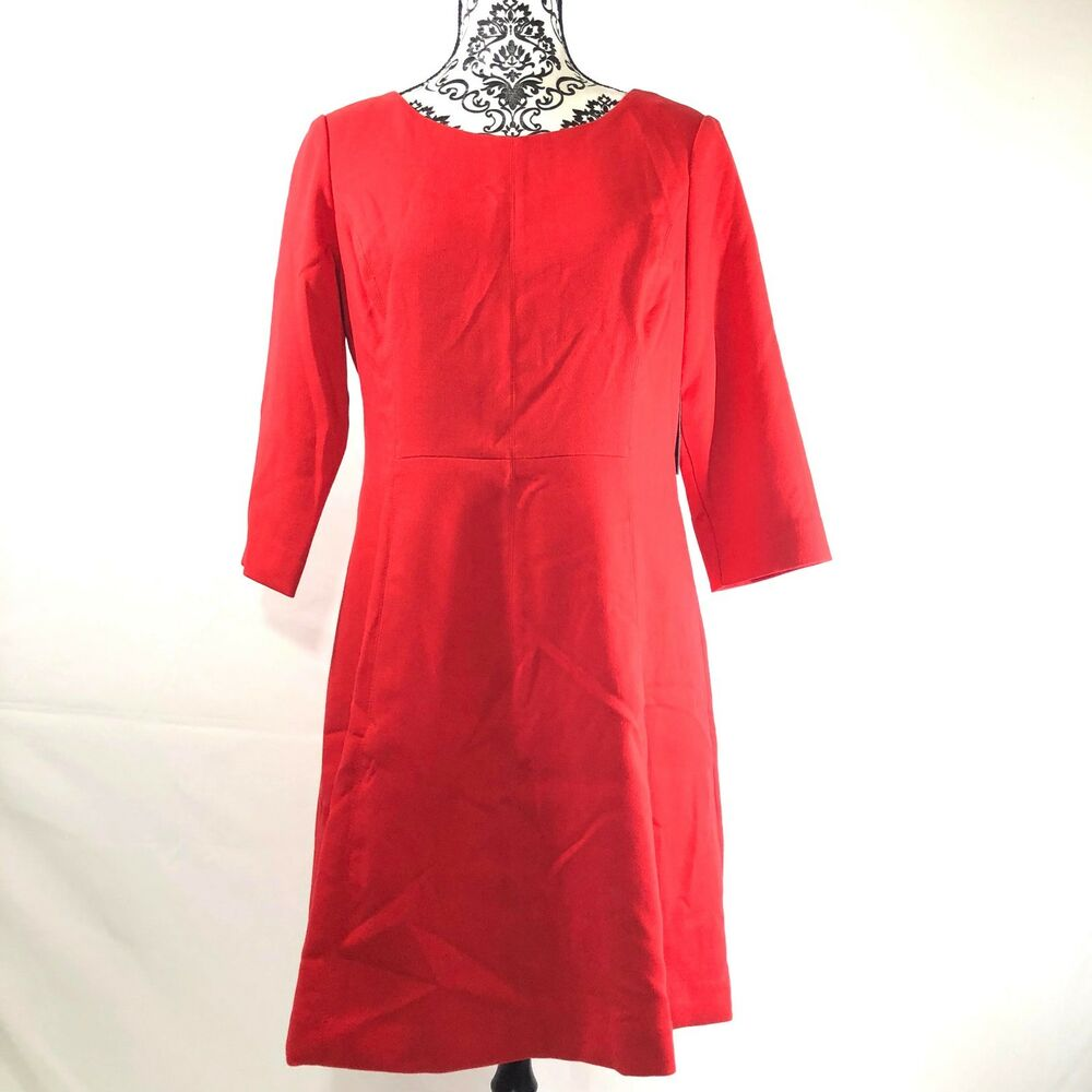 00c063b64ae19 Details about Vince Camuto Crepe A-Line Dress 12P 3 4 Sleeve Flared Exposed  Back Zip Pockets