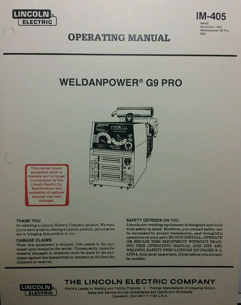 Lincoln Weldanpower G9 PRO 250 DC Welder Onan Operating & Parts (2 Manuals)  126p | eBay