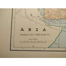 Vintage 1902 ASIA Map Old Antique Historical CHINA INDIA KOREA JAPAN TAIWAN MAPZ