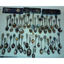 Lot 49 Vintage Silver Plate Souvenir Spoons Many Enamel, some hard to find!!