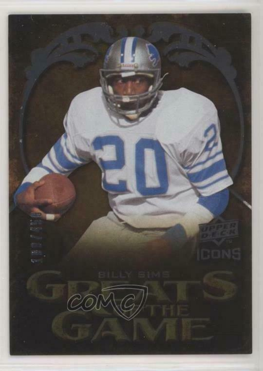 2009 Upper Deck Icons Greats of the Game #GG SI Billy Sims Detroit