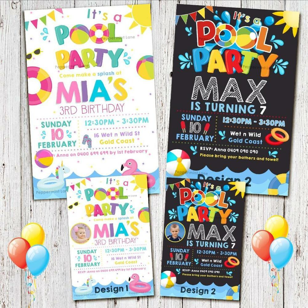Details About POOL PARTY BIRTHDAY Invitations Invites Girl Boy Summer Unicorn Magnet Water