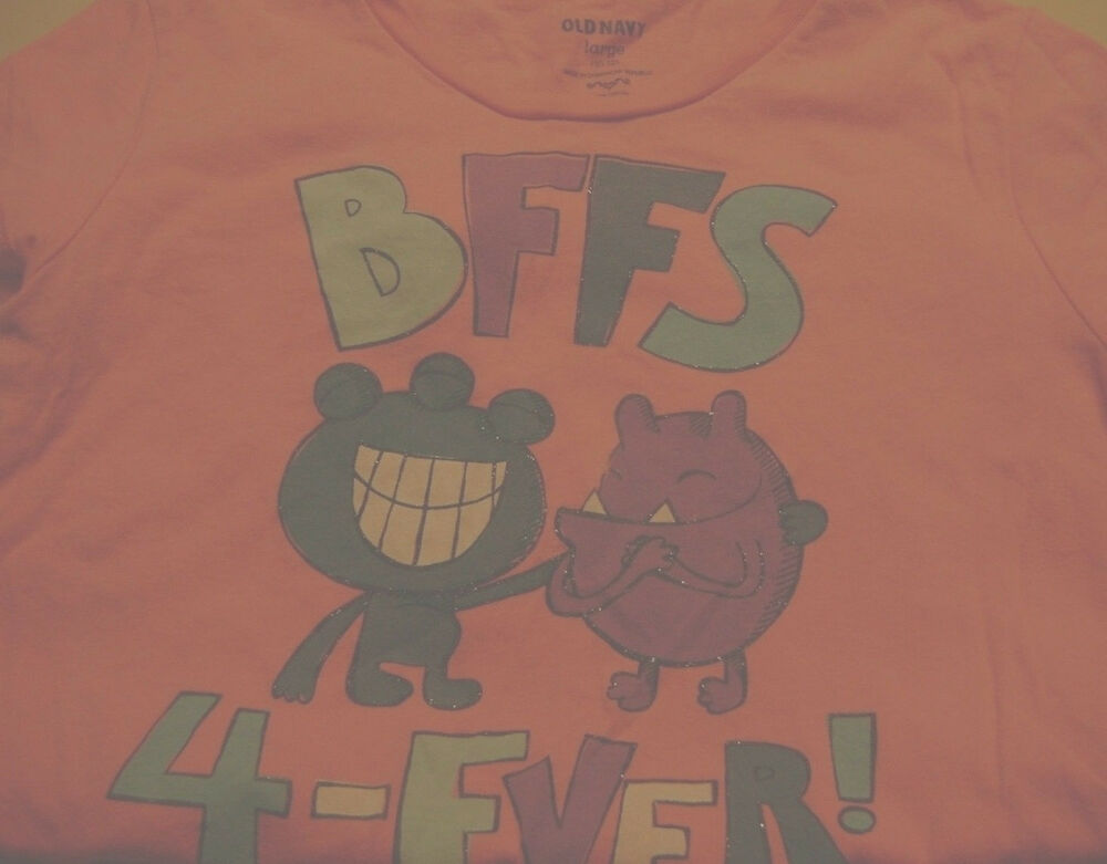 d9f4ae539 Details about GIRLS OLD NAVY GRAPHIC T-SHIRT-SIZE LARGE-10/12-PINK-BFFS