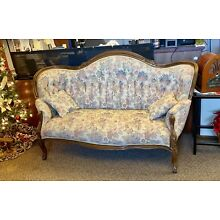 Antique Victorian Beige Sofa Settee Loveseat Tufted Carved Wood Vintage