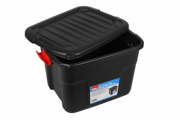 42L Heavy Duty Storage Box with Lid & Latches Plastic Holes Padlock Stackable