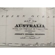 Original 1874 AUSTRALIA Map Old Antique Historical SYDNEY BRISBANE PERTH MAPZ