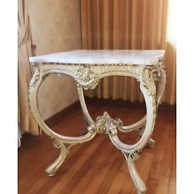French Provincial Marble top square end table Glen Traditionals Inc 1974