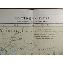 Original 1896 NORTHERN INDIA Map Old Antique DELHI LUCKNOW KANPUR AGRA MAPZ