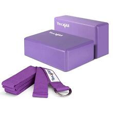 Yes4All Yoga Blocks (2 pcs x 4 inch) and Yoga Strap with D-Ring – Multi C... New
