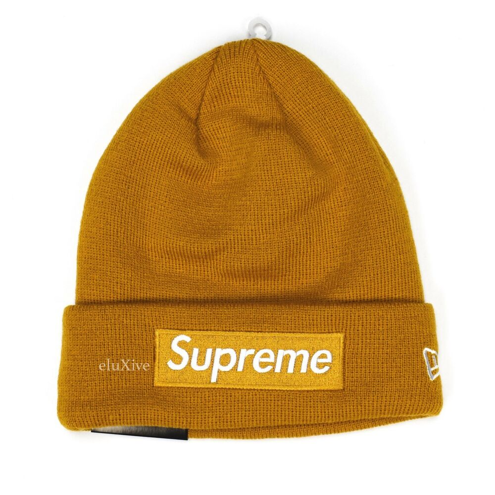 9a716f34d1f30 Details about NWT Supreme NY New Era Mustard Yellow Box Logo Beanie Knit Hat  FW18 DS AUTHENTIC