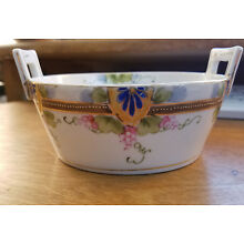 Vintage Antique Hand Painted Berry Bowl w/ Strainer Plate Pink Berries NIPPON