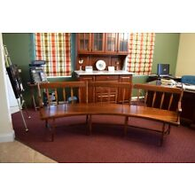 Gorgeous Antique Curved Arrow Back Bench w/ Pine Plank Seat and Maple Componets