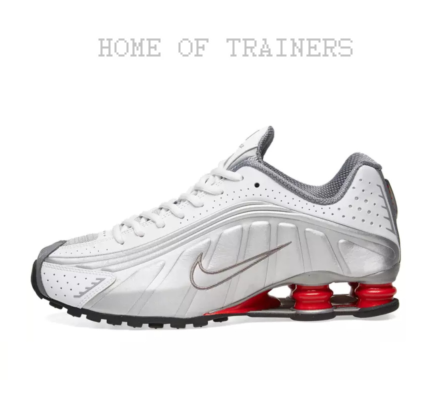 6153410256482a NIKE SHOX R4 WHITE METALLIC SILVER RED MEN S TRAINERS ALL SIZES