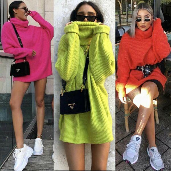 Women Neon Lime Oversize Xmas Jumper Dress Sweater Knit Top Lounge Wear Party UK