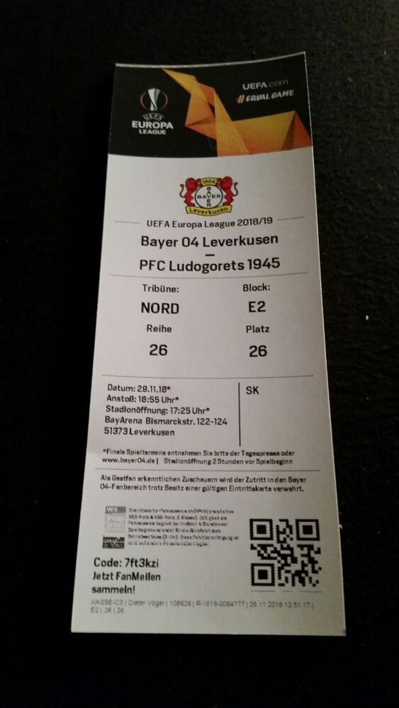 Top Match Ticket Europa League 1819 Bayer 04 Leverkusen V