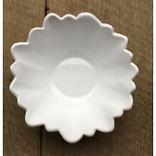 "Antique White Milk Glass Flower Shaped 7"" Bowl Candy Dish"
