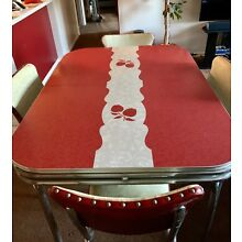 Vintage Chrome Formica Kitchen Table & 4 Chairs w/ Integrated Leaf 1950's
