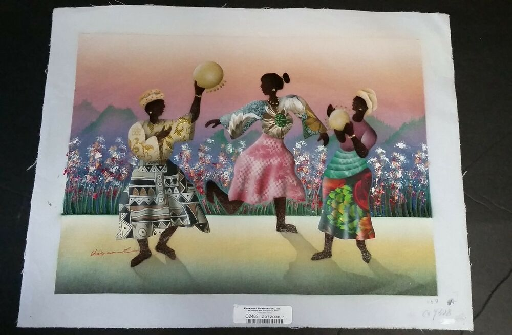 African Women Lithograph Canvas Personal Preference Tribal Dance
