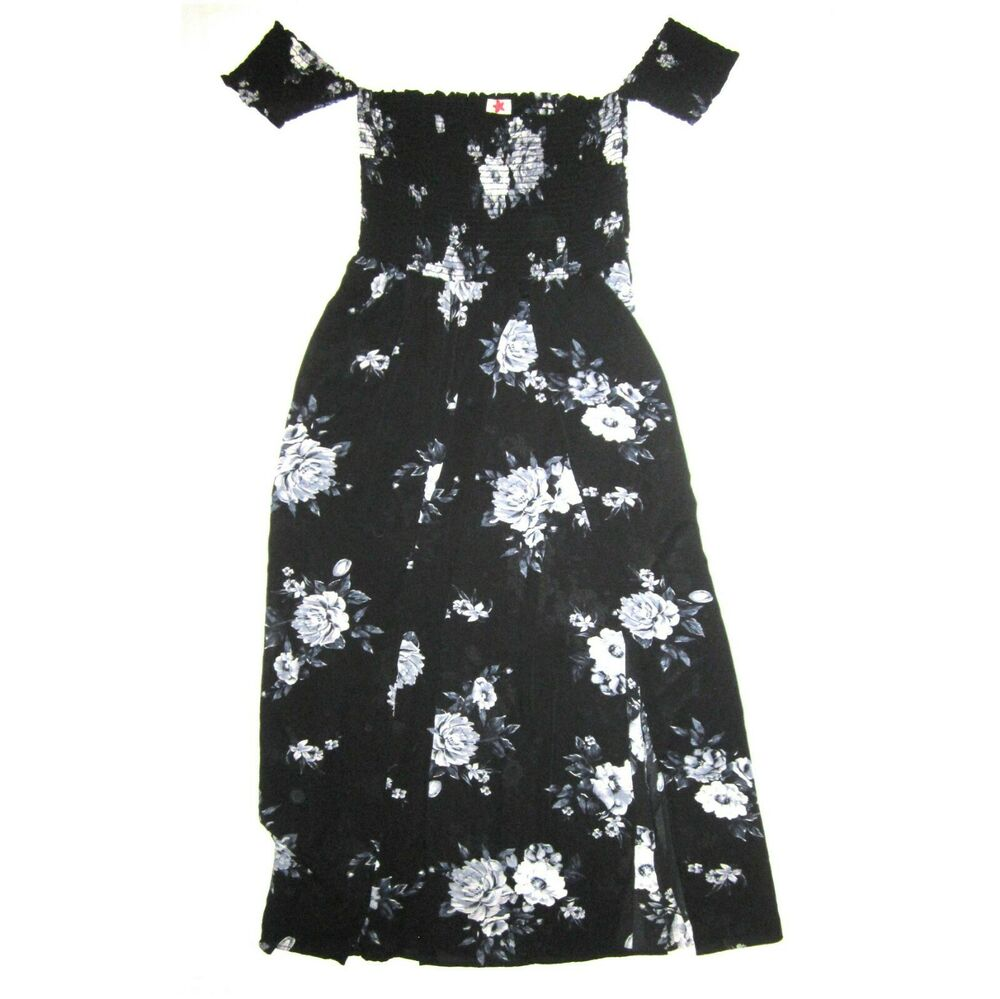 Details about NEW Off Shoulder Smocked MAXI Dress PLUS SIZE 2X Black Floral  Long Flare SEXY c03eefedb