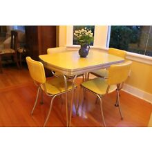 Daystrom, Mid century Formica and Chrome table with chairs.