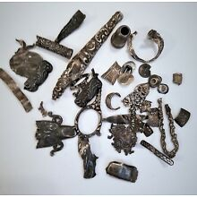 Antique Mixed Lot Sterling & Coin Silver Steampunk Crafts Findings 66 Grams