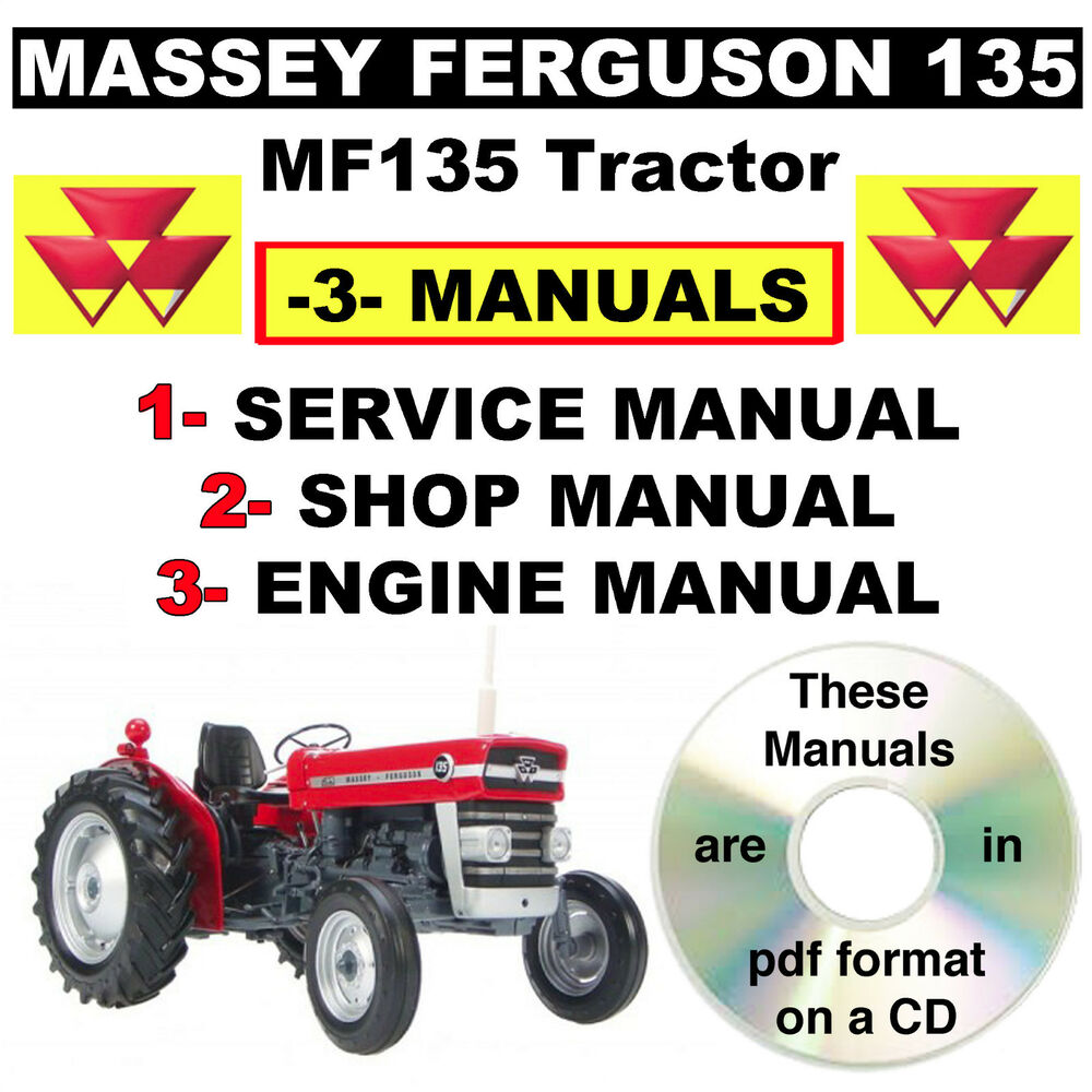 Massey Ferguson MF 135 MF135 Tractor Service, Shop, Engine Manual -3-  Manuals CD | eBay