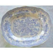 ASIATIC PHEASANT BLUE WHITE Tranferware Antique Scalloped Platter Butterfly OLD