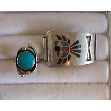 Vintage Handcrafted Turquoise Ring & Buckle Set In Sterling Silver Ring Siz 5.25