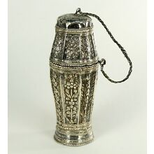 ! Antique Southeast Asian FINE Silver Betel Areca Nut Lime Container Opium Box