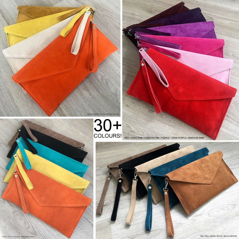 323174609e6 Details about Ladies Envelope Oversize Clutch Evening Bag Genuine Leather  Real Suede Crossbody