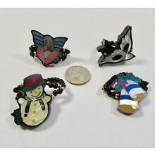 Lee Sands set of 4 Shell Inlaid Snowman/Bells/Angel/Bird Stretch Rings