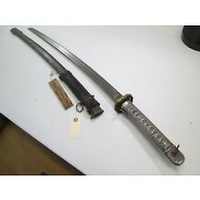 WW2 JAPANESE NCO OFFICERS SWORD & LEATHER COVER ON SCABBARD WIT SURENDER TAG #A1