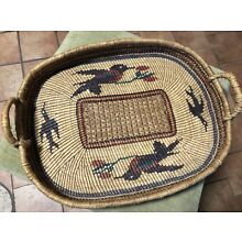 Rare Large Nuu Chah Nulth Pacific NW native Basket Tray Birds