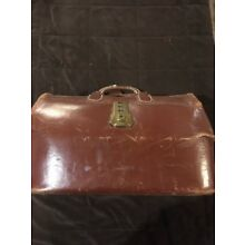 Vintage Antique Top Grain Cowhide Leather Doctors Travel Bag Used by Real Doctor