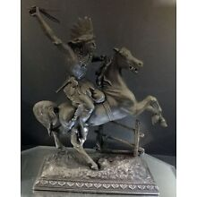 AMERICAN INDIAN--Spelter Figure--Very Nice Detail--Late 19th Century--BUY IT NOW