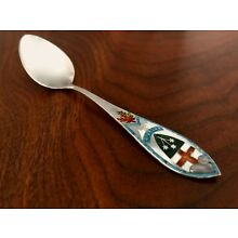 - CANADIAN STERLING SILVER & ENAMEL SOUVENIR TEASPOON: ONTARIO