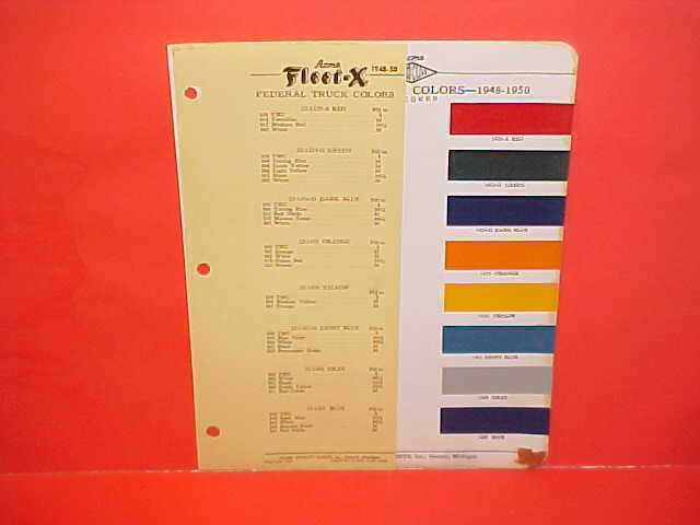 1948 1949 1950 Federal Truck Paint Chips Color Chart Brochure 48 49