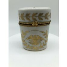 ANTIQUE LIMOGES GOLD EAGLE AND BEE OVAL TRINKET BOX - NAPOLEONIC ERA !!!  3.5""
