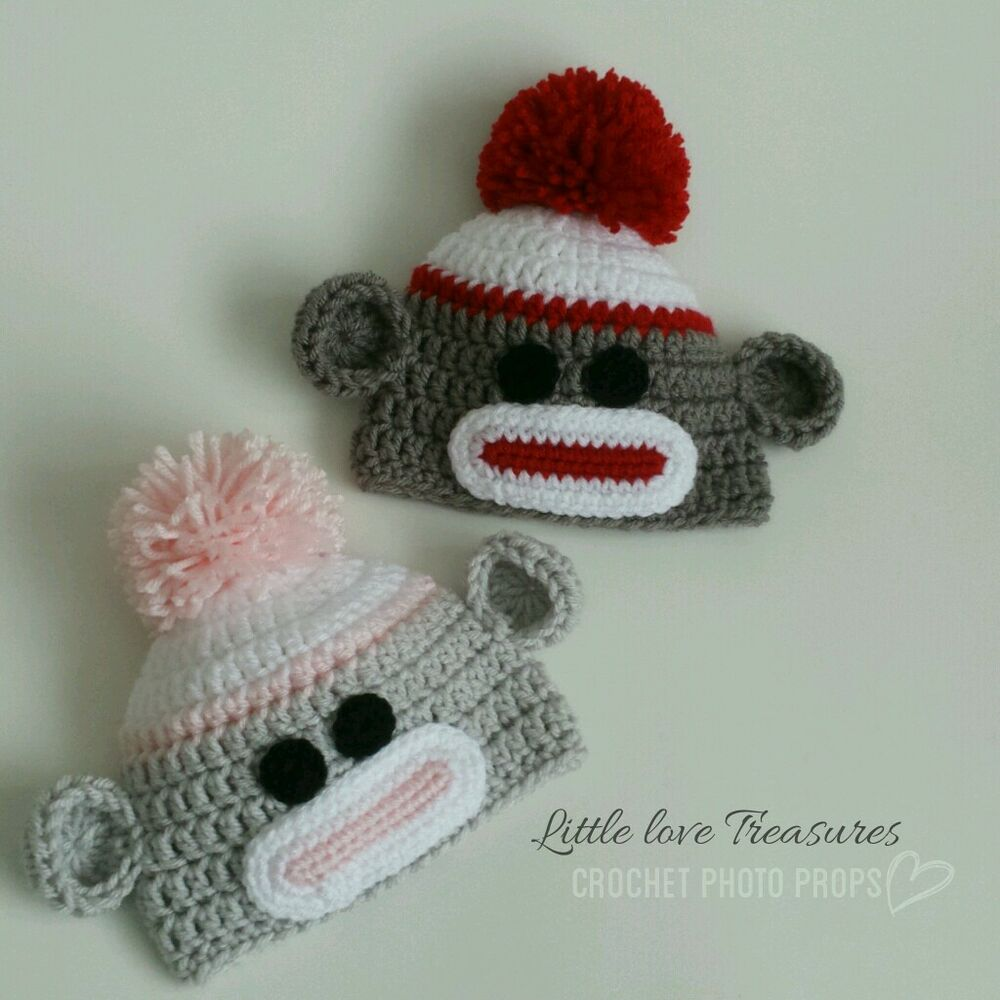 f5893213e9c Details about Set of Two Newborn Baby Twins Sock Monkey Hats Crochet Photo  Prop Outfits