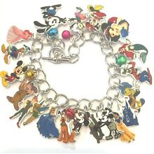 Disney Character Mickey Tinkerbell More Charms Handcrafted Bracelet