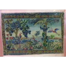 ANTIQUE VINTAGE FRAMED SILK PETIT POINT PANEL BIRDS FLOWERS TREES