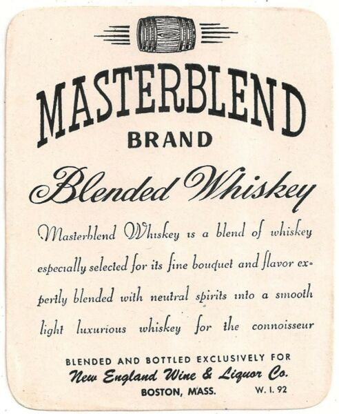 Masterblend Brand Blended Whiskey Advertising Label