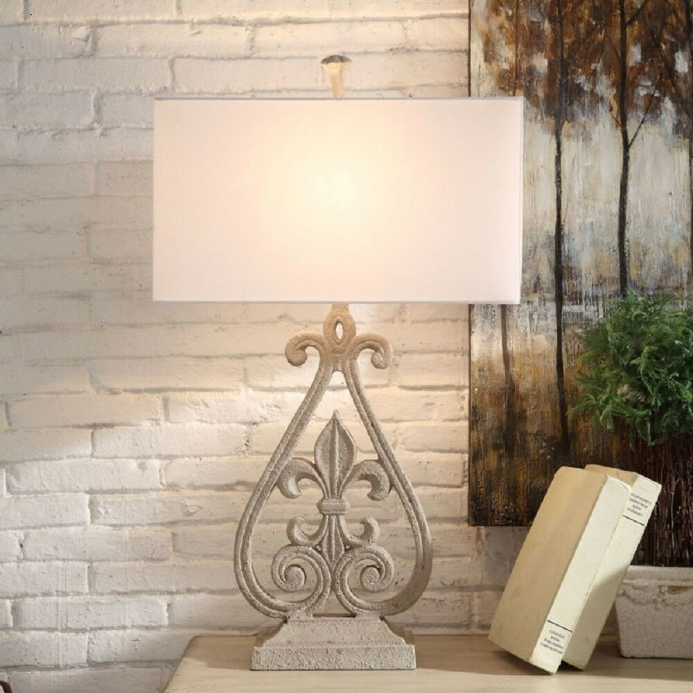 Fleur De Lis Table Lamp Antque White Finish Tuscan French Country