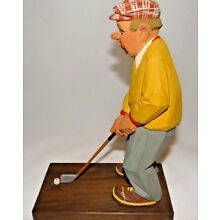 Vintage Carl Olof Trygg 1964 Wood Carving of a Man Playing Golf Sweden