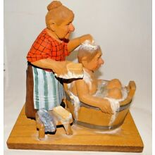 Vintage Carl Olog Trygg 1980 Wood Carving of Bath Time Sweden