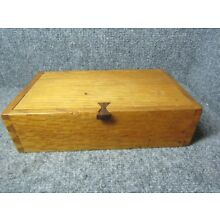 Vintage Dovetailed Oak Wood Box with Walnut Pinned Lid and Bowtie Latch