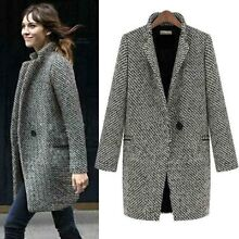 Winter Women's Wool Trench Coat Lapel Ladies Long Parka Overcoat Wild Jacket Hot